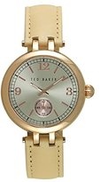 Ted Baker Women's 'Smart Casual' Quartz Stainless Steel and Leather Dress Watch, Color:Beige (Model: 10027794)