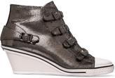 Ash Genial metallic cracked-suede wedge sneakers