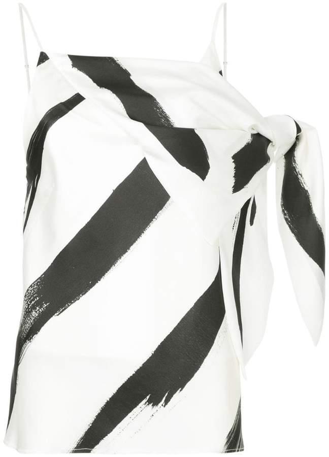 CHRISTOPHER ESBER painterly stripe drape detail spaghetti top