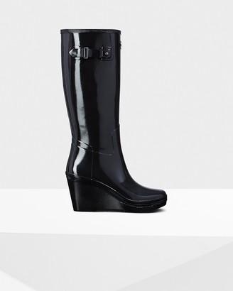 Hunter Women's Refined Slim Fit Wedge Gloss Rain Boots