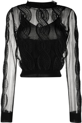 Alexander McQueen Sheer Embroidered Knitted Top