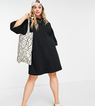 ASOS DESIGN Curve oversized winter weight T-Shirt Dress with pocket in black