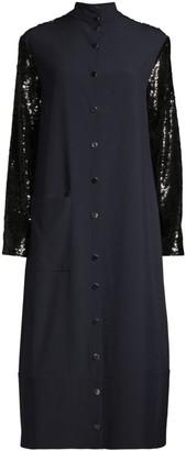 Tibi Paneled Sequin Midi Shift Dress