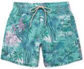 Faherty Beacon Mid-length Printed Swim Shorts - Teal