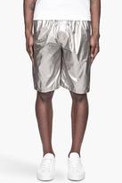 Lanvin Metallic silver gathered Bermuda shorts