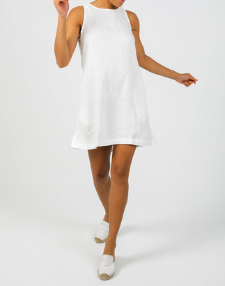 Madewell Lanhtropy Organic Linen Halo Side-Button Mini Dress