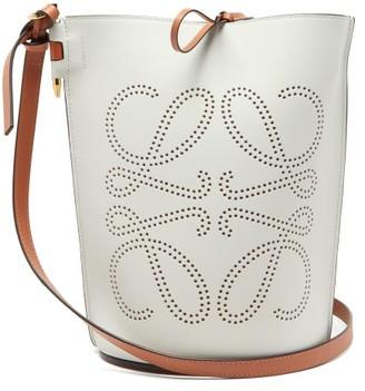 Loewe Gate Anagram-perforated Leather Bucket Bag - Womens - White Multi