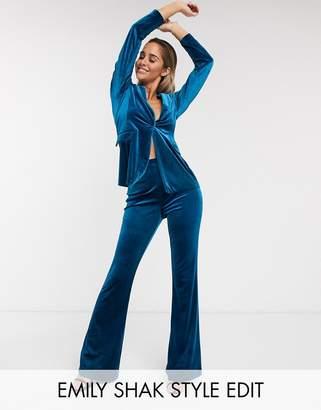 Asos Design DESIGN jersey kick flare suit pants in velvet-Green