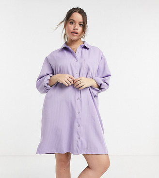 Lola May Curve shirt dress in lilac