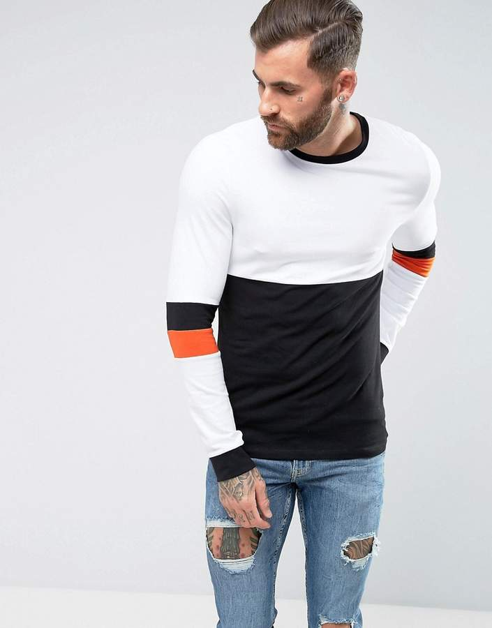 Asos Design muscle fit Long Sleeve T-Shirt With Sleeve Cut And Sew Detail