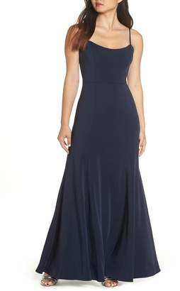Jenny Yoo Collection Aniston Luxe Crepe Trumpet Gown