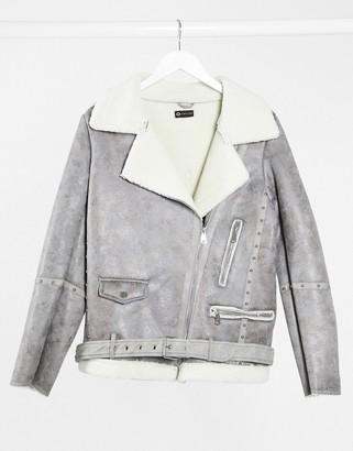 I SAW IT FIRST aviator jacket in grey