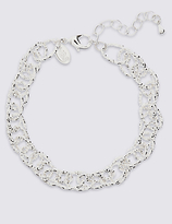 M&S Collection Silver Plated Textured Link Bracelet