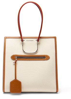 Alexander McQueen The Tall Story Canvas And Leather Tote Bag - Tan Multi