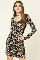Forever 21 Floral Print Lace-Up Dress