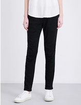 James Perse Ruched-detail skinny mid-rise twill trousers