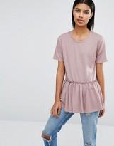 Vila Ruffle Hem Woven T-Shirt