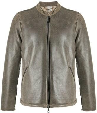 Giorgio Brato Band Collar Leather Jacket