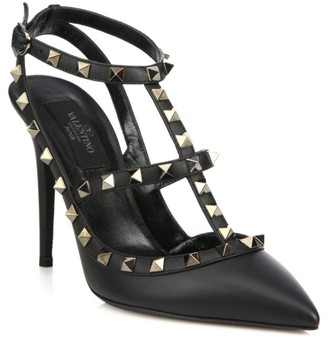 Valentino Rockstud Noir Leather Slings