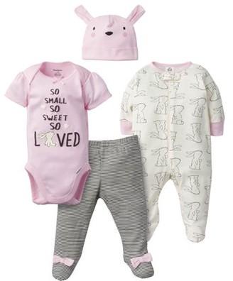 Gerber Baby Girl Onesies Bodysuit, Sleep N Play, Pants & Cap Set, 4-Piece