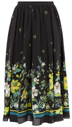 Erdem Lanie Ashcombe Forest-print Silk Midi Skirt - Black Yellow