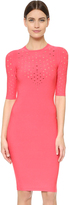 Cushnie et Ochs Short Sleeve Perforated Dress