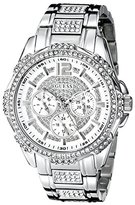GUESS Women's U0286L1 Sporty Silver-Tone Stainless Steel Watch with Multi-function Dial and Pilot Buckle