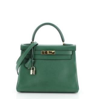Hermes Kelly 28 Green Leather Handbags