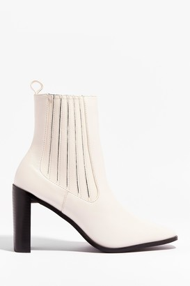 Nasty Gal Womens Toe Looking Back Faux Leather Heeled Boots - Off White