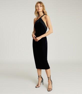Reiss Karla - One Shoulder Velvet Dress in Navy