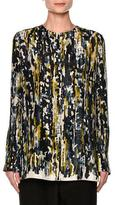 Marni Haze-Print Button-Back Blouse, Blue/Multi