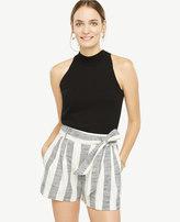 Ann Taylor Petite Stripe Fluid Tie Waist Shorts