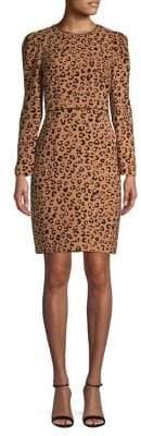 Donna Karan Leopard-Print Long-Sleeve Sheath Dress