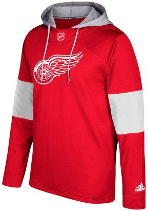 adidas Men's Red Detroit Red Wings Silver Jersey Pullover Hoodie