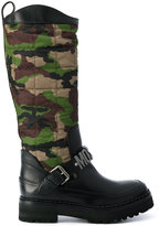 Moschino camouflage quilted boots