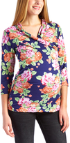 Glam Navy & Pink Floral Ruched Maternity/Nursing Top
