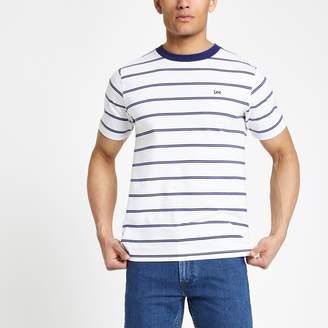 Lee Mens River Island White stripe T-shirt
