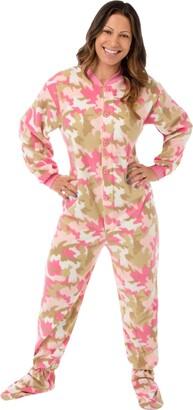 Big Feet Pajama Co. Big Feet PJs Pink Camouflage Fleece Adult Footed Pyjamas (XL)