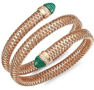 Roberto Coin Primavera 18K Rose Gold, Diamond & Malachite Coiled Wrap Bracelet