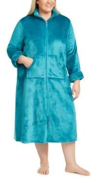 Miss Elaine Plus Size Fleece Long Zipper Robe