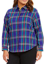 Allison Daley Plus Plaid Roll-Tab Blouse