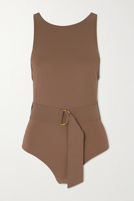 Karla Colletto Angelina Belted Swimsuit - Tan