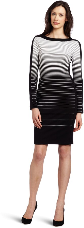 Thumbnail for your product : BCBGMAXAZRIA Women's Rigby Striped Ponte Sheath Dress - Multi - X-Small Black/White