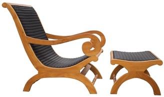 Chic Teak Kenya Indoor/Outdoor Teak Wood Lazy Chair Including Footstool