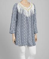 Navy & White Crochet Fringe Tunic Blue