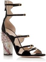 Giambattista Valli Embellished Printed Block Heel Sandal