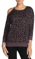 Aqua Cold-Shoulder Leopard Print Sweatshirt - 100% Exclusive