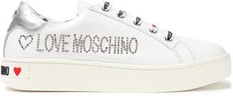 Love Moschino Studded Logo-print Leather Sneakers