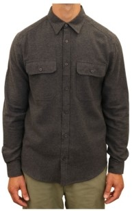 Mountain and Isles Men's Chambray Flannel Two Pocket Button Down Shirt