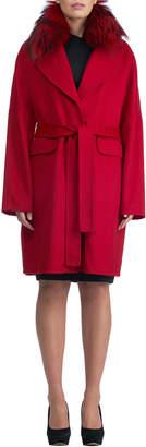 Gorski Double-Face Cashmere Short Coat w/ Fox Fur Collar